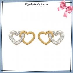 Boucles d'oreilles 2 coeurs plaqué or et zirconium