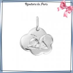Médaille ange de Raphaël nuage argent