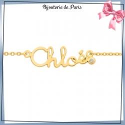 Bracelet prénom découpé or 750 °/oo et diamant