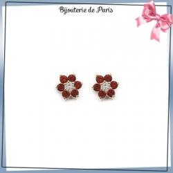 Boucles d'oreilles fleur rouge plaqué or