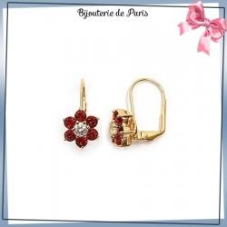 Boucles d'oreilles pendantes fleur rouge plaqué or