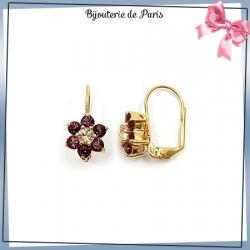Boucles d'oreilles pendantes fleur violette plaqué or