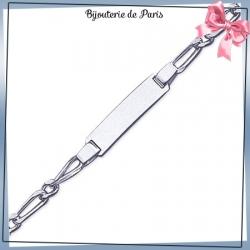 Bracelet identité enfant argent - 16 cm