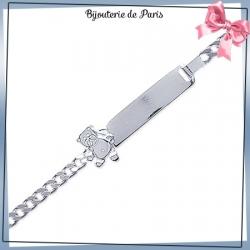 Bracelet identité enfant ourson argent - 16 cm