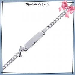 Bracelet identité enfant dauphin argent - 16 cm