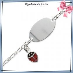 Bracelet identité enfant coccinelle argent - 16 cm