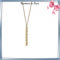 Collier cravate pastilles plaqué or