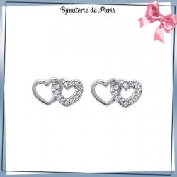 Boucles d'oreilles 2 coeurs argent et zirconiums