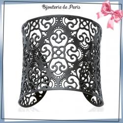Bracelet manchette arabesque noire acier