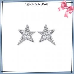 Boucles d'oreilles étoile argent et zirconiums
