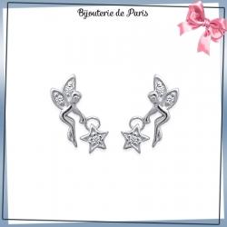 Boucles d'oreilles fée avec étoile argent et zirconiums