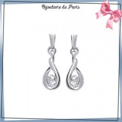 Boucles d'oreilles pendantes argent et zirconium