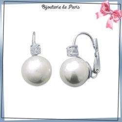 Boucles d'oreilles pendantes perles en argent et zirconium