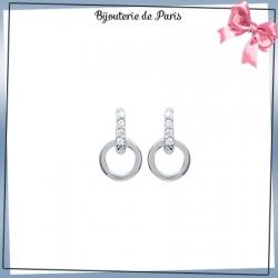 Boucles d'oreilles pendantes anneau argent et zirconiums