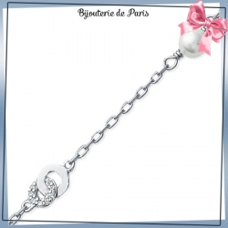 Bracelet 2 anneaux ,perle argent et zirconiums