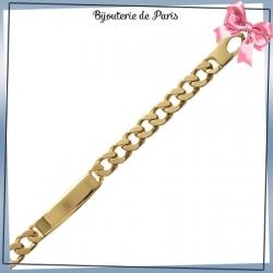 Bracelet identité gourmette plaqué or - 10 mm