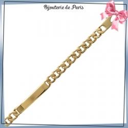 Bracelet identité gourmette plaqué or - 8 mm