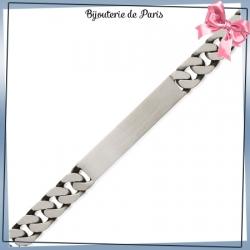 Bracelet identité gourmette argent vieilli - 21 cm - 8 mm