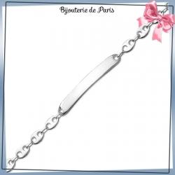 Bracelet identité grain de café argent - 21 cm - 6 mm