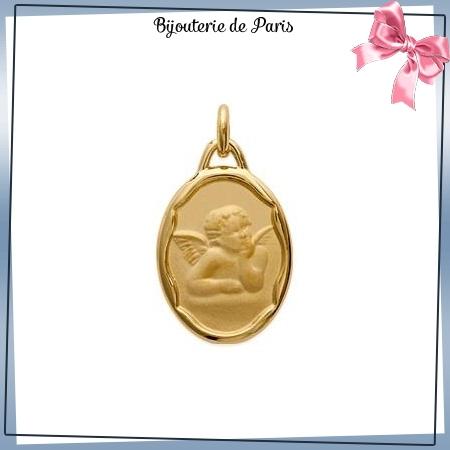 Médaille ange Raphaël ovale plaqué or