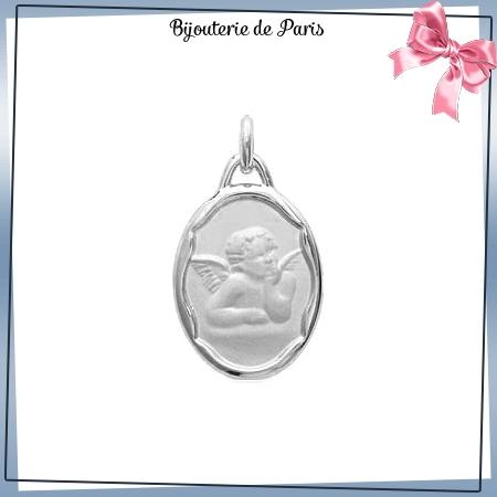 Médaille ange de Raphaël ovale argent