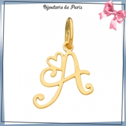 Pendentif initiale A et coeur or 18 carats