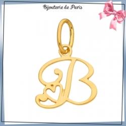 Pendentif initiale B et coeur or 18 carats