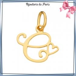 Pendentif initiale C et coeur or 18 carats