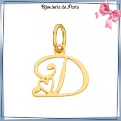 Pendentif initiale D et coeur or 18 carats