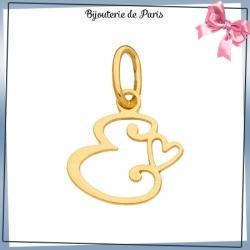 Pendentif initiale E et coeur or 18 carats