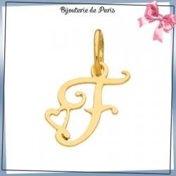 Pendentif initiale F et coeur or 18 carats