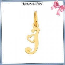 Pendentif initiale I et coeur or 18 carats