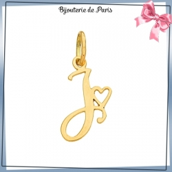 Pendentif initiale J et coeur or 18 carats