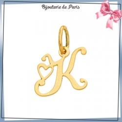 Pendentif initiale K et coeur or 18 carats