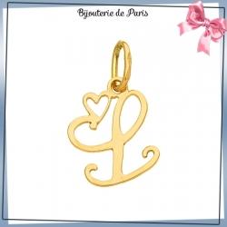 Pendentif initiale L et coeur or 18 carats
