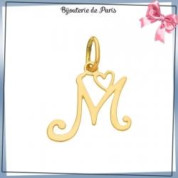 Pendentif initiale M et coeur or 18 carats