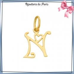 Pendentif initiale N et coeur or 18 carats