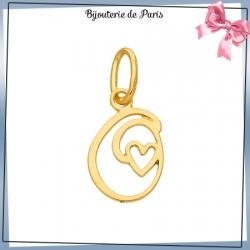 Pendentif initiale O et coeur or 18 carats