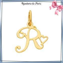 Pendentif initiale R et coeur or 18 carats