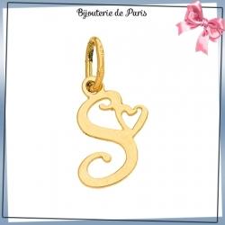 Pendentif initiale S et coeur or 18 carats