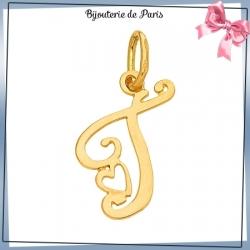 Pendentif initiale T et coeur or 18 carats