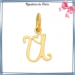 Pendentif initiale U et coeur or 18 carats
