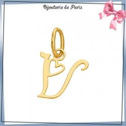 Pendentif initiale V et coeur or 18 carats