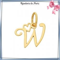 Pendentif initiale W et coeur or 18 carats
