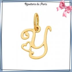 Pendentif initiale Y et coeur or 18 carats