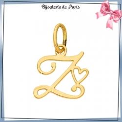 Pendentif initiale Z et coeur or 18 carats