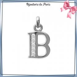 Pendentif initiale B argent et zirconiums