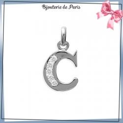 Pendentif initiale C argent et zirconiums