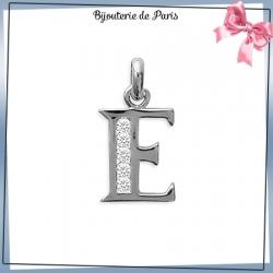 Pendentif initiale E argent et zirconiums