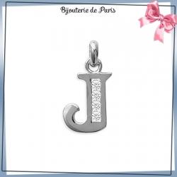 Pendentif initiale J argent et zirconiums